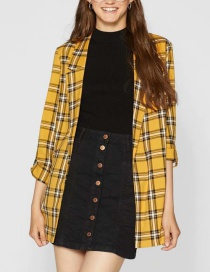 Fashion Yellow Grid Pattern Decorated Coat