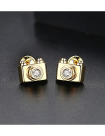 Fashion Gold Color Camera Shape Decorated Earrings