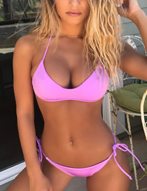 Sexy Light Purple Pure Color Design Bandage Bikini