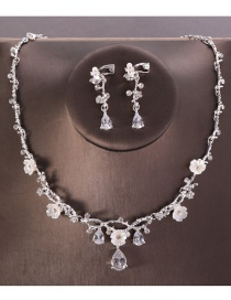 Fashion Silver Color Diamond&flowers Decorated Jewelry Sets