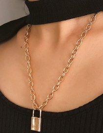 Fashion Gold Color Lock Shape Pendant Decorated Necklace