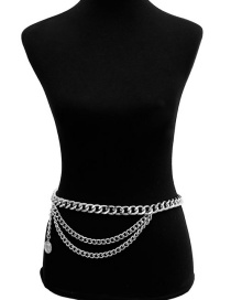Fashion Silver Color Multi-layer Design Pure Color Body Chain