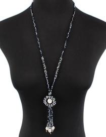 Fashion Navy Round Shape Decorated Necklace