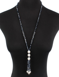 Fashion Navy Bead Decorated Necklace