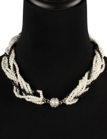 Fashion White+black Pearl Decorated Necklace