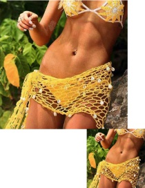 Fashion Yellow Hollow Out Design Beach Towel