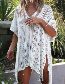 Fashion White Pure Color Design Hollow Out Smock