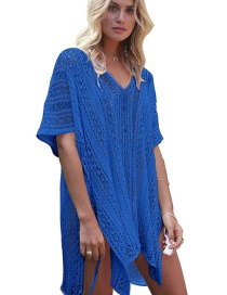 Fashion Blue Pure Color Design Hollow Out Smock