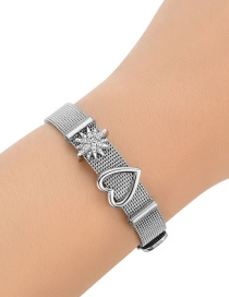 Fashion Silver Color Heart Shape Decorated Pure Color Bracelet