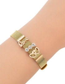 Fashion Gold Color Diamond Decorated Pure Color Bracelet