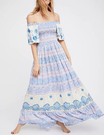 Fashion Blue Flowers Decorated Short Sleeves Dress