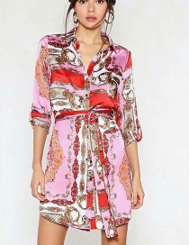 Fashion Multi-color Flowers Decorated Long Sleeves Dress