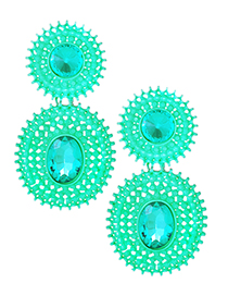 Exaggerated Pale Blue Hollow Out Design Pure Color Earrings