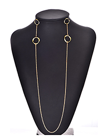 Fashion Gold Color Circular Ring Decorated Pure Color Necklace