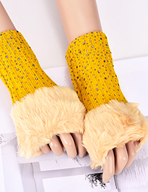Fashion Yellow Diamond Decorated Pure Color Gloves