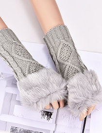 Fashion Gray Rhombus Shape Pattern Design Gloves