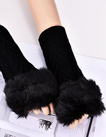 Fashion Black Hemp Flowers Shape Design Gloves