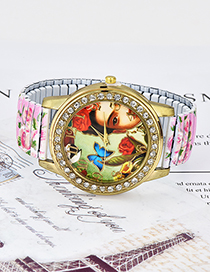 Fashion Light Pink Butterfly&flowers Pattern Decorated Watch