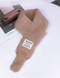 Fashion Pink Label Pattern Decorated Knitted Scarf