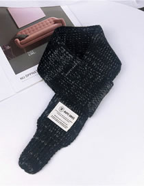 Fashion Black+gray Label Pattern Decorated Knitted Scarf