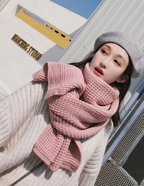 Fashion Pink Pure Color Design Thicken Knitted Scarf