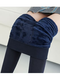 Fashion Navy Pure Color Design Warm Ankle Leggings