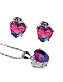Elegant Plum Red Heart Shape Diamond Decorated Jewelry Sets