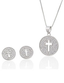 Elegant Silver Color Hollow Out Cross Shape Design Jewelry Sets