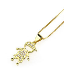 Elegant Gold Color Skater Boy Pendant Decorated Necklace