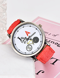 Fashion Red Bicycle Pattern Decorated Simple Watch