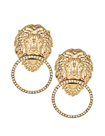 Fashion Gold Color Lion Shape Design Pure Color Earrings