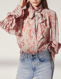 Fashion Pink Flowers Decorated Long Sleeves Shirt