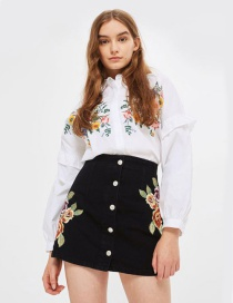 Fashion Black Embroidery Flower Decoraterd Skirt