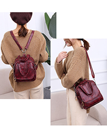 Fashion Claret Red Pure Color Decorated Mini Backpack
