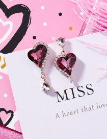 Fashion Purple Heart Shape Decorated Earrings