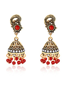 Fashion Red Wind Chimes Shape Decorated Earrings