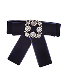 Fashion Navy Diamond Decorated Brooch