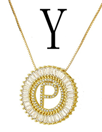 Simple Gold Color Letter Y Shape Decorated Necklace