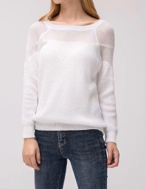 Sexy White Pure Color Decorated Sweater