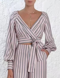 Fashion Pink Stripe Pattern Decorated Shirt