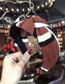 Fashion Coffee Stripe Pattern Decorated Hair Hoop