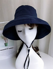 Lovely Navy Pure Color Design Sunshade Fisherman Hat