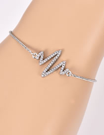 Fashion Silver Color Electrocardiogram Shape Decorated Bracelet