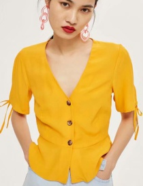 Fashion Yellow V Neckline Design Pure Color Blouse