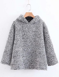 Fashion Gray Pure Color Decorated Simple Hoodie