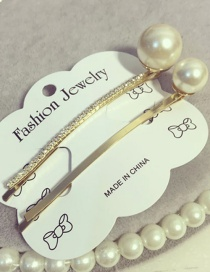 Elegant Gold Color Pearls&diamond Decorated Hair Clip(2pcs)