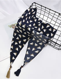 Fashion Navy Triangle Shape Pattern Decorated Scarf