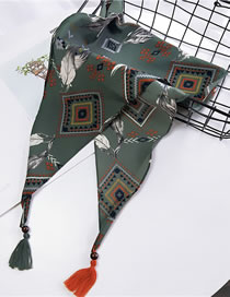 Fashion Green Feather Pattern Decorated Small Scarf