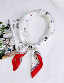 Fashion Red Cat Pattern Decorated Small Scarf