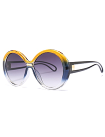 Fashion Gray+yellow Color Matching Design Sunglasses